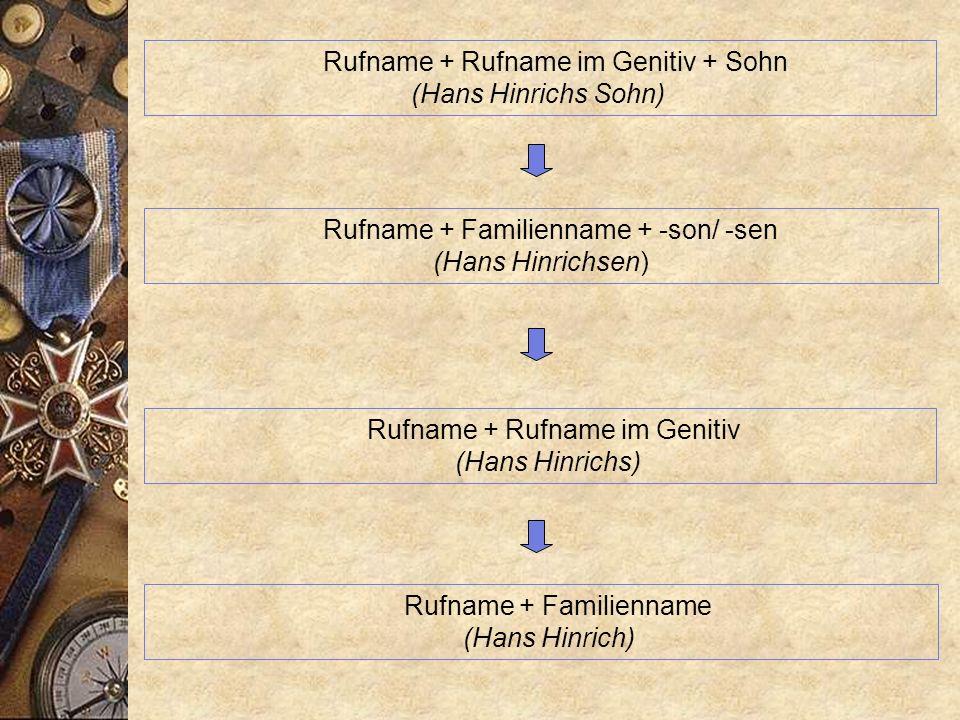 Beispiel: Detlefsen, Borchers, Heinrichs etc... Insbesondere im alltäglich Sprachgebrauch entstanden verkürzte sprachliche Gebilde, die wir in den Fam