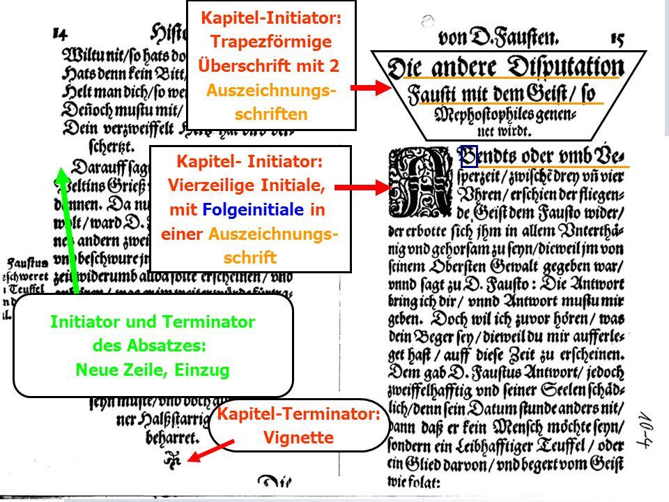 Initiator und Terminator des Absatzes: Neue Zeile, Einzug Kapitel-Initiator: Trapezförmige Überschrift mit 2 Auszeichnungs- schriften Kapitel- Initiat