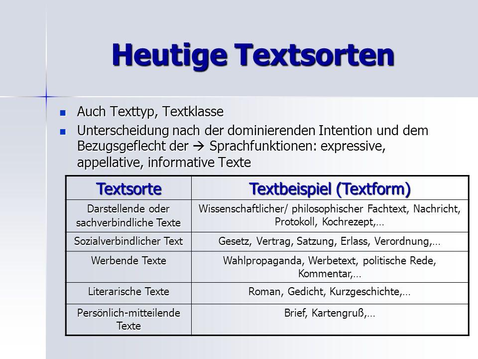 Heutige Textsorten Auch Texttyp, Textklasse Auch Texttyp, Textklasse Unterscheidung nach der dominierenden Intention und dem Bezugsgeflecht der Sprach