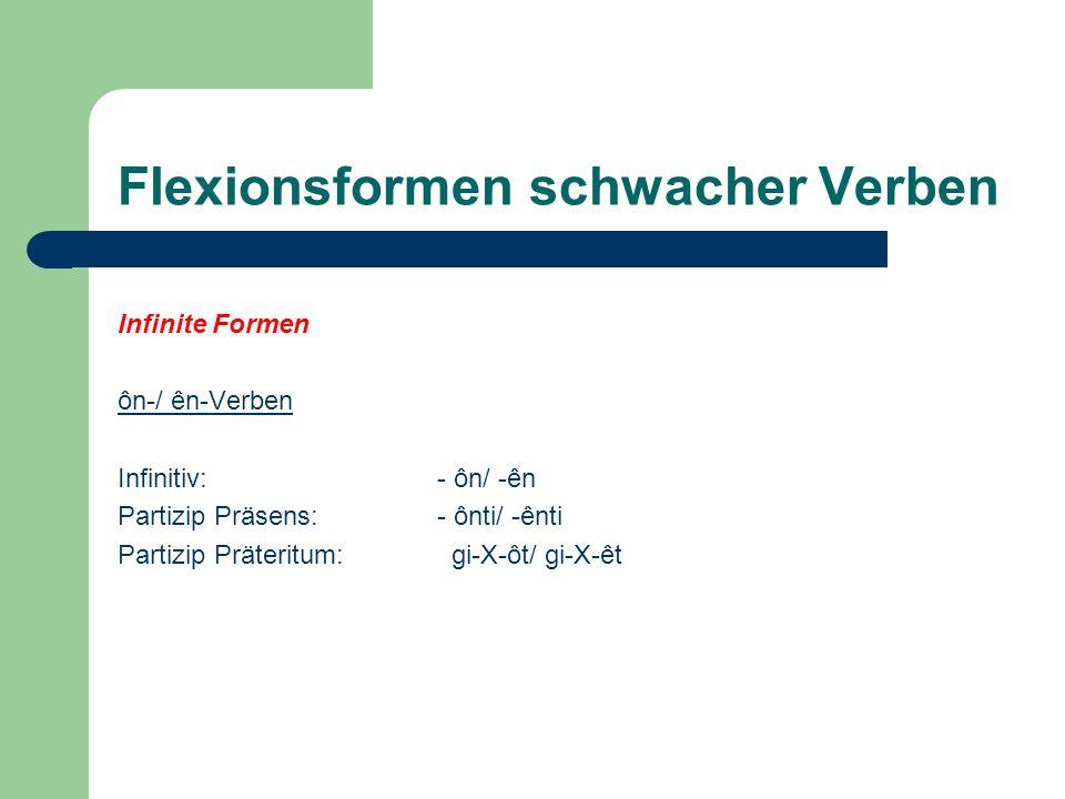 Flexionsformen schwacher Verben Infinite Formen ôn-/ ên-Verben Infinitiv:- ôn/ -ên Partizip Präsens:- ônti/ -ênti Partizip Präteritum: gi-X-ôt/ gi-X-ê