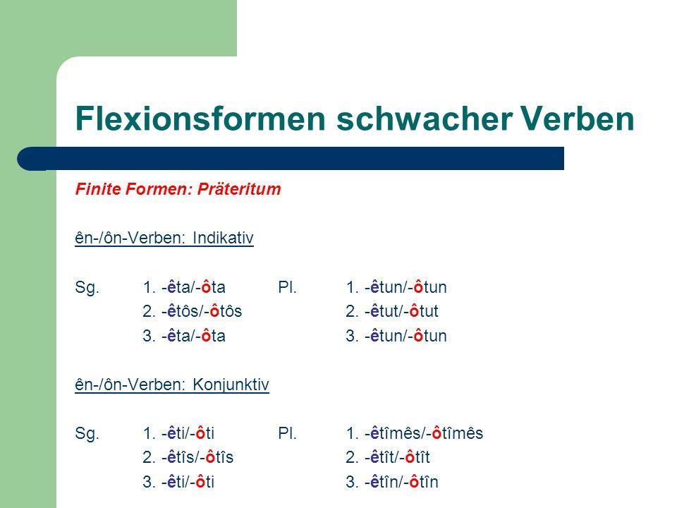 Flexionsformen schwacher Verben Finite Formen: Präteritum ên-/ôn-Verben: Indikativ Sg.1. -êta/-ôta Pl.1. -êtun/-ôtun 2. -êtôs/-ôtôs2. -êtut/-ôtut 3. -
