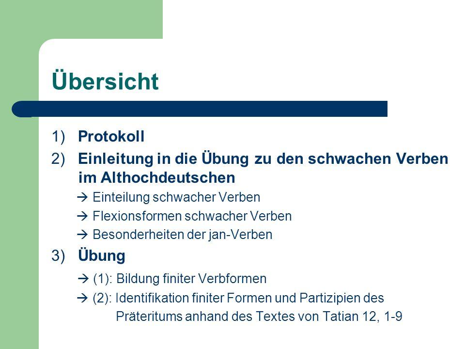 Übersicht 1) Protokoll 2) Einleitung in die Übung zu den schwachen Verben im Althochdeutschen Einteilung schwacher Verben Flexionsformen schwacher Ver