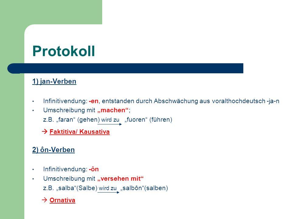 Protokoll 3) ên-Verben Infinitivendung: -ên Umschreibung mit werden, z.B.