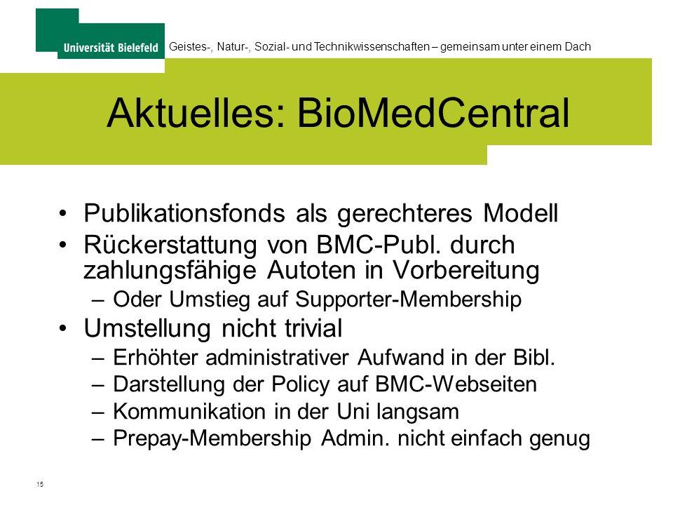 15 Geistes-, Natur-, Sozial- und Technikwissenschaften – gemeinsam unter einem Dach Aktuelles: BioMedCentral Publikationsfonds als gerechteres Modell Rückerstattung von BMC-Publ.