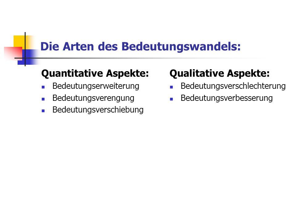Die Arten des Bedeutungswandels: Quantitative Aspekte: Bedeutungserweiterung Bedeutungsverengung Bedeutungsverschiebung Qualitative Aspekte: Bedeutung