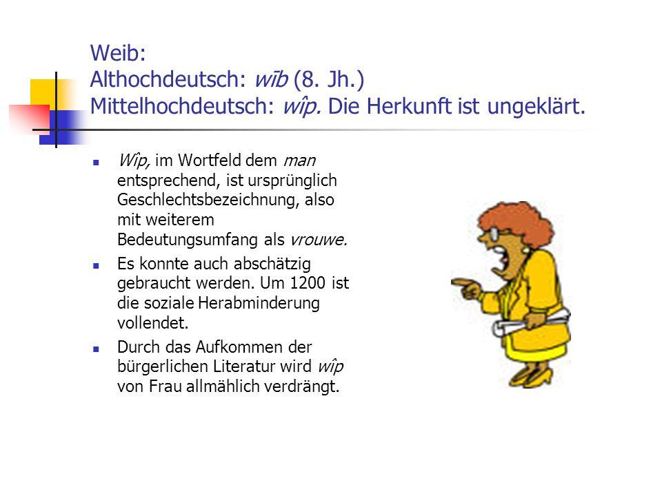 Weib: Althochdeutsch: wīb (8. Jh.) Mittelhochdeutsch: wîp. Die Herkunft ist ungeklärt. Wîp, im Wortfeld dem man entsprechend, ist ursprünglich Geschle