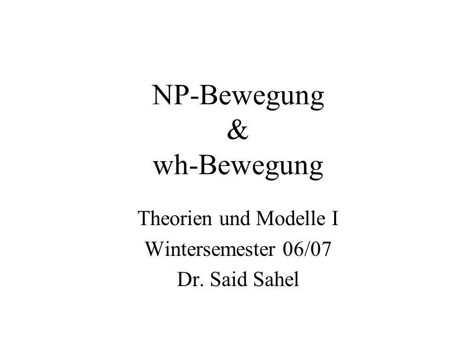 NP-Bewegung & wh-Bewegung Theorien und Modelle I Wintersemester 06/07 Dr. Said Sahel