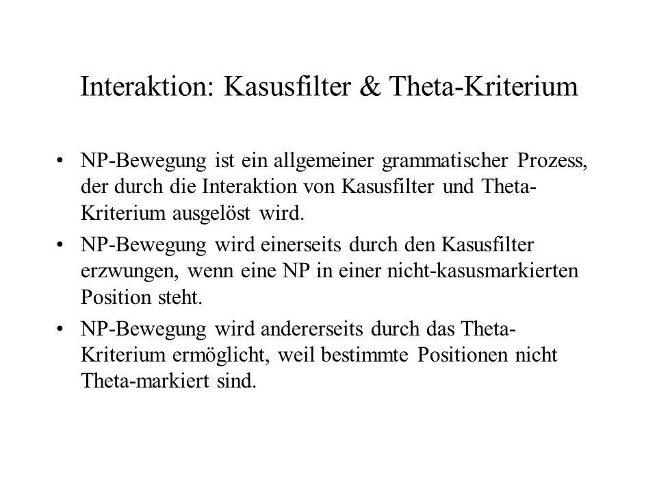 Interaktion: Kasusfilter & Theta-Kriterium NP-Bewegung ist ein allgemeiner grammatischer Prozess, der durch die Interaktion von Kasusfilter und Theta-