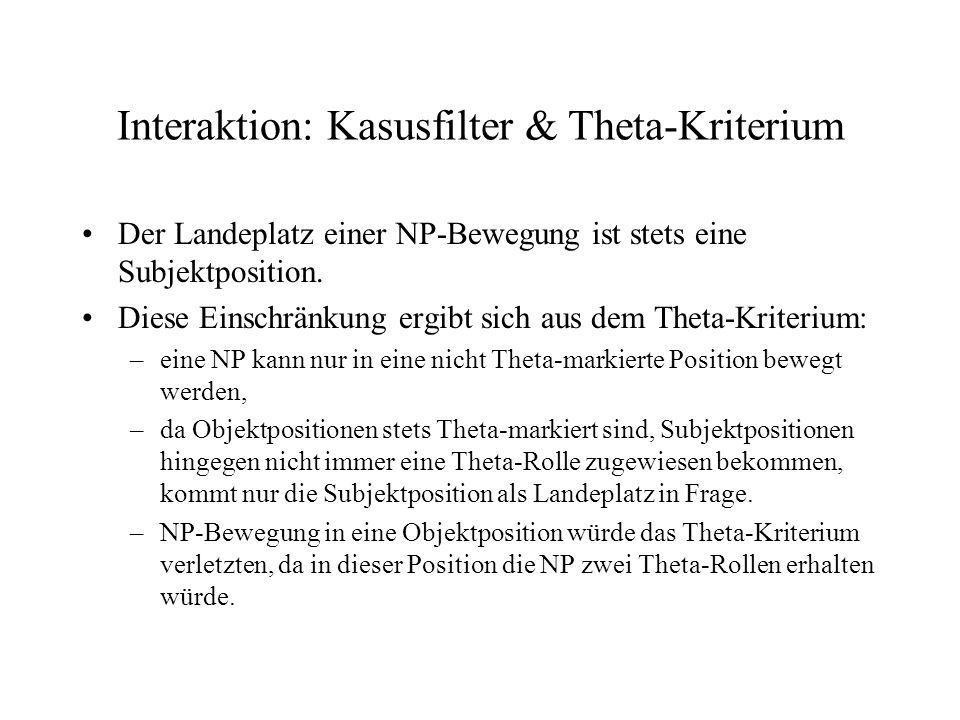 Interaktion: Kasusfilter & Theta-Kriterium Der Landeplatz einer NP-Bewegung ist stets eine Subjektposition. Diese Einschränkung ergibt sich aus dem Th