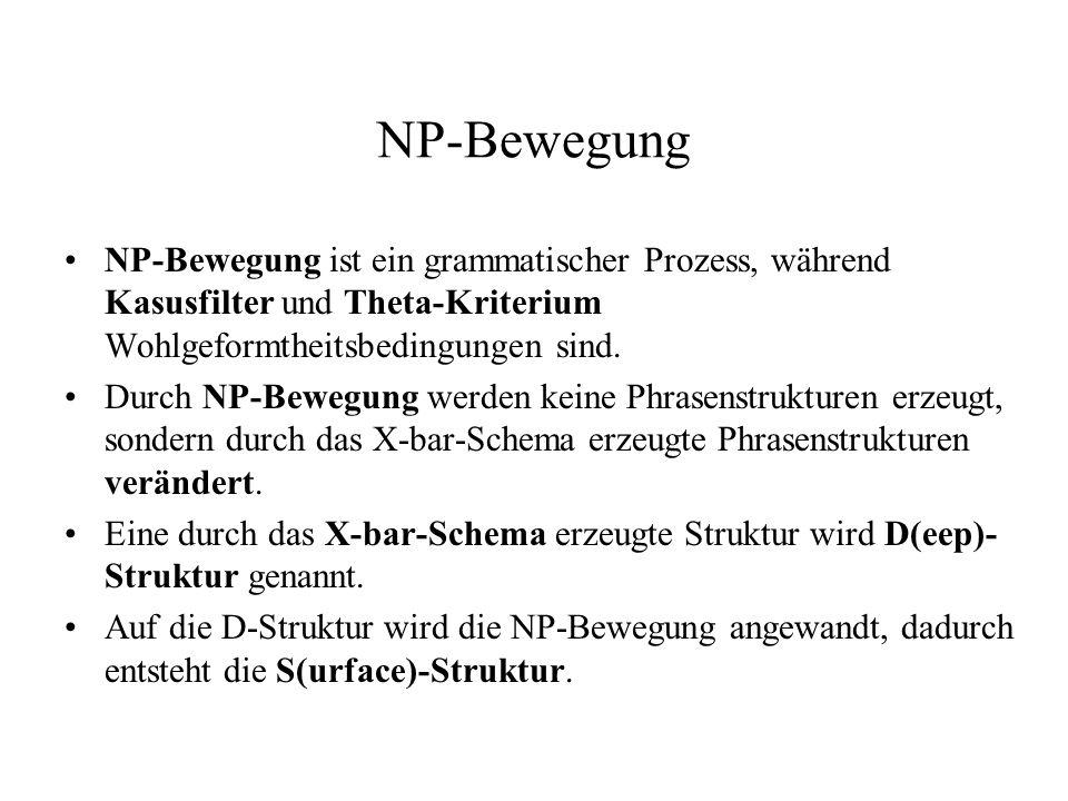 NP-Bewegung NP-Bewegung ist ein grammatischer Prozess, während Kasusfilter und Theta-Kriterium Wohlgeformtheitsbedingungen sind. Durch NP-Bewegung wer