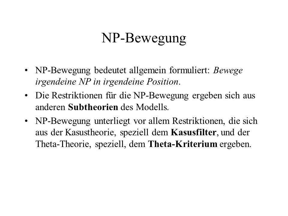 NP-Bewegung NP-Bewegung bedeutet allgemein formuliert: Bewege irgendeine NP in irgendeine Position. Die Restriktionen für die NP-Bewegung ergeben sich