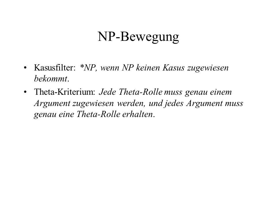 NP-Bewegung Kasusfilter: *NP, wenn NP keinen Kasus zugewiesen bekommt. Theta-Kriterium: Jede Theta-Rolle muss genau einem Argument zugewiesen werden,
