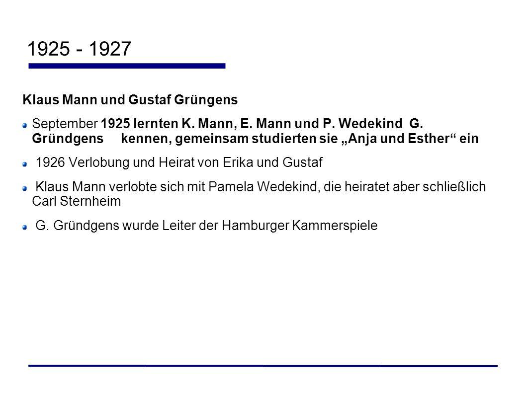 1925 - 1927 Klaus Mann und Gustaf Grüngens September 1925 lernten K. Mann, E. Mann und P. Wedekind G. Gründgens kennen, gemeinsam studierten sie Anja