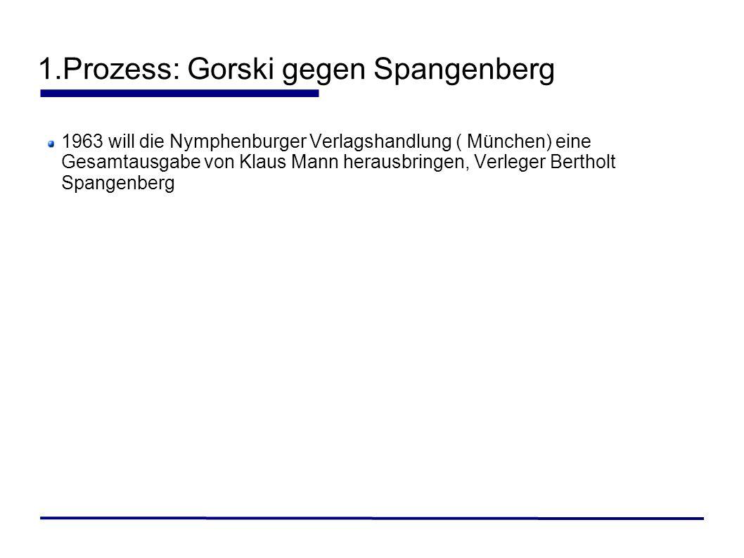 1963 will die Nymphenburger Verlagshandlung ( München) eine Gesamtausgabe von Klaus Mann herausbringen, Verleger Bertholt Spangenberg