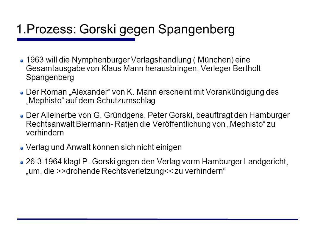 1.Prozess: Gorski gegen Spangenberg 1963 will die Nymphenburger Verlagshandlung ( München) eine Gesamtausgabe von Klaus Mann herausbringen, Verleger B