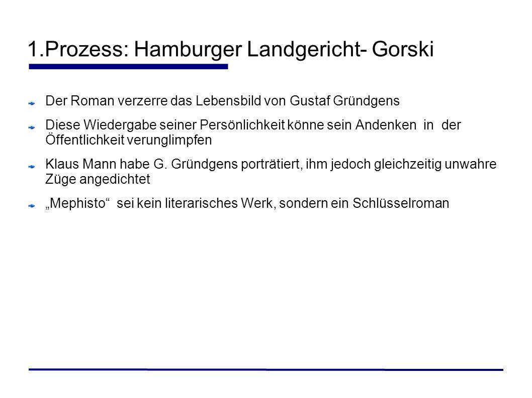 1.Prozess: Hamburger Landgericht- Gorski Der Roman verzerre das Lebensbild von Gustaf Gründgens Diese Wiedergabe seiner Persönlichkeit könne sein Ande