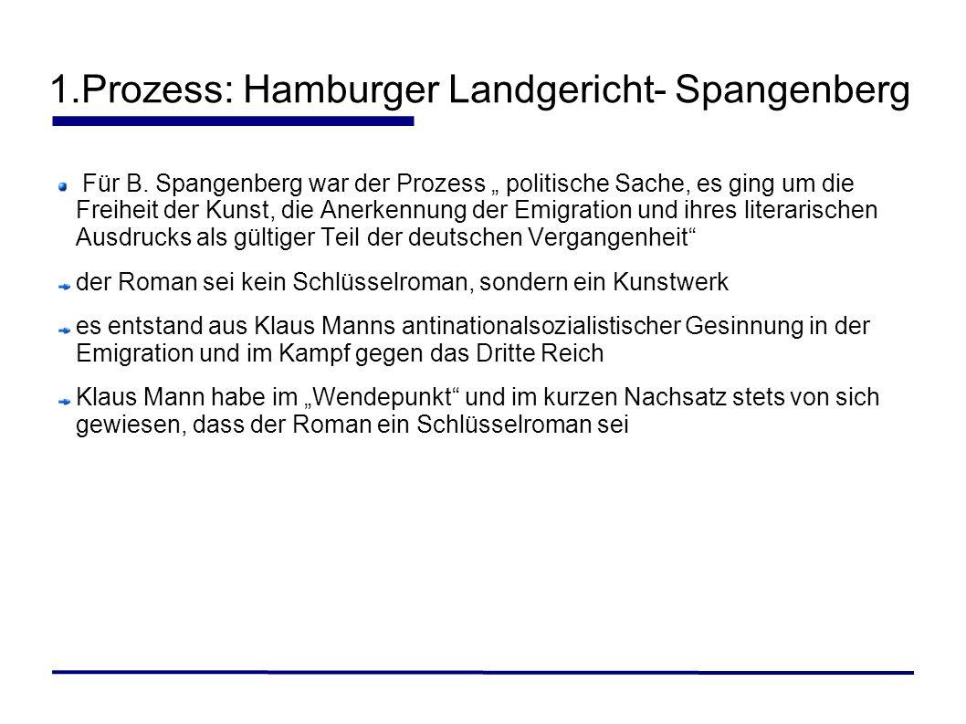1.Prozess: Hamburger Landgericht- Spangenberg Für B. Spangenberg war der Prozess politische Sache, es ging um die Freiheit der Kunst, die Anerkennung
