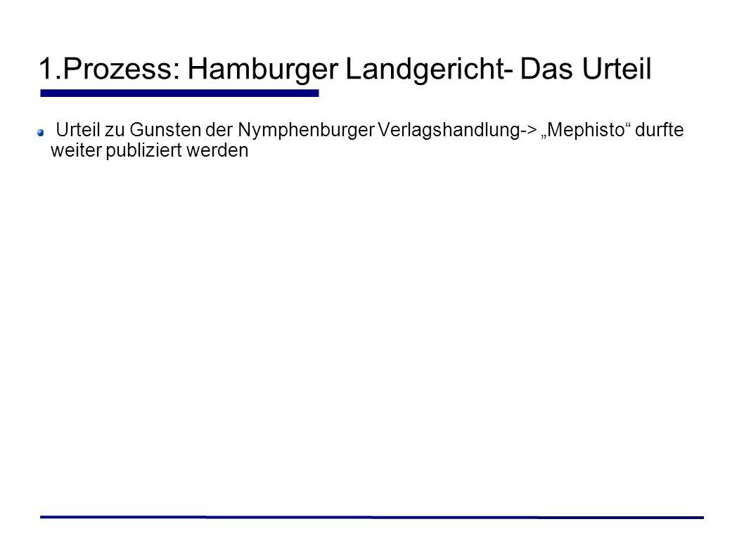 Urteil zu Gunsten der Nymphenburger Verlagshandlung-> Mephisto durfte weiter publiziert werden
