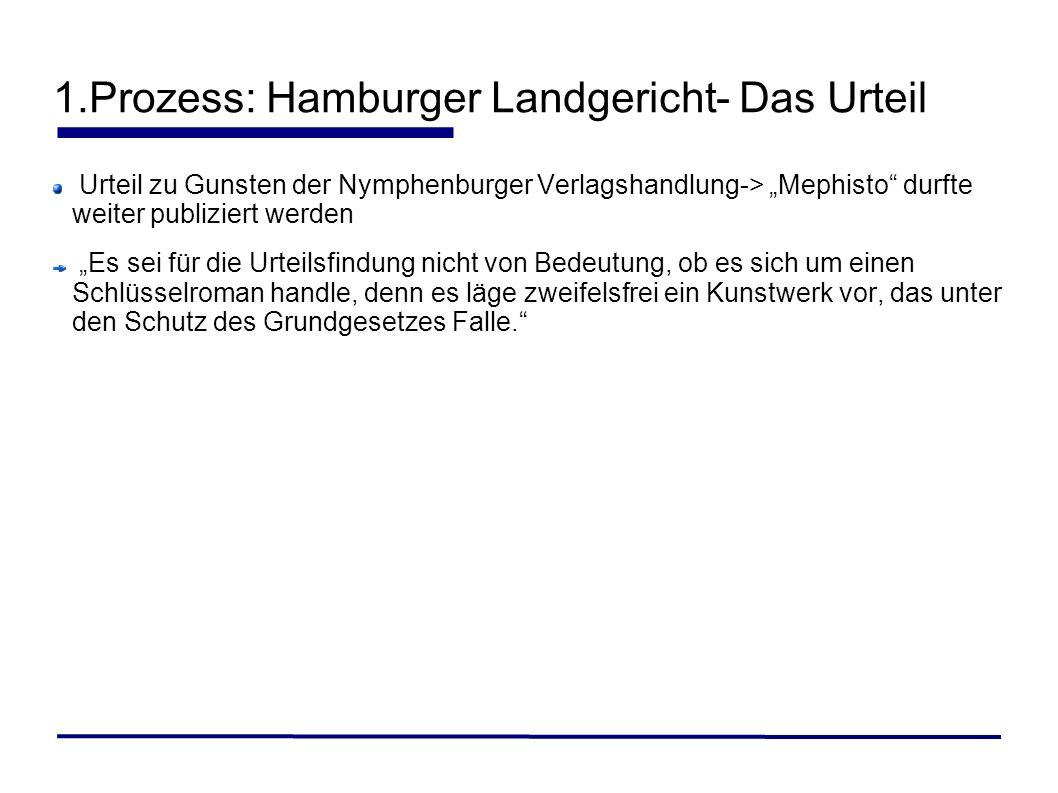 1.Prozess: Hamburger Landgericht- Das Urteil Urteil zu Gunsten der Nymphenburger Verlagshandlung-> Mephisto durfte weiter publiziert werden Es sei für