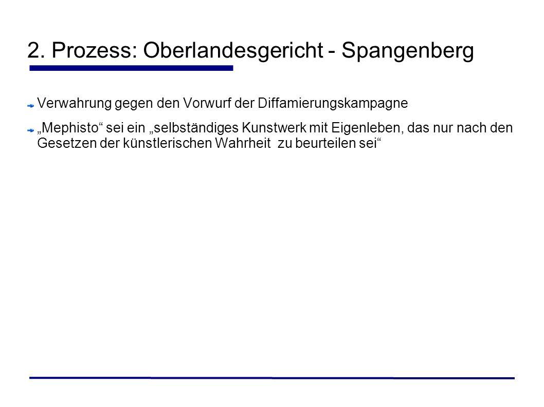 2. Prozess: Oberlandesgericht - Spangenberg Verwahrung gegen den Vorwurf der Diffamierungskampagne Mephisto sei ein selbständiges Kunstwerk mit Eigenl