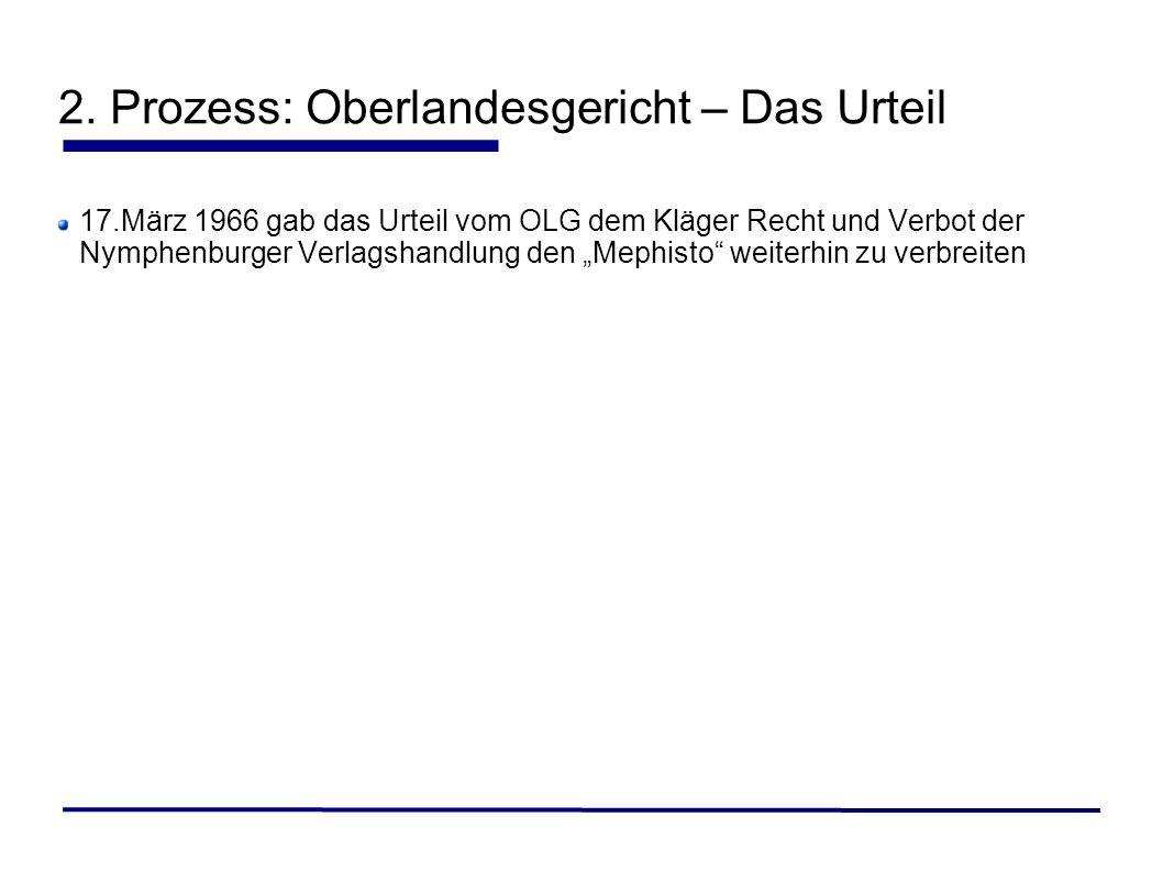 17.März 1966 gab das Urteil vom OLG dem Kläger Recht und Verbot der Nymphenburger Verlagshandlung den Mephisto weiterhin zu verbreiten