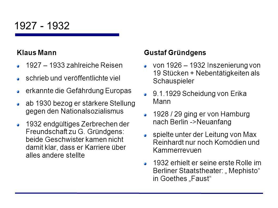 1927 - 1932 Klaus Mann 1927 – 1933 zahlreiche Reisen schrieb und veröffentlichte viel erkannte die Gefährdung Europas ab 1930 bezog er stärkere Stellu