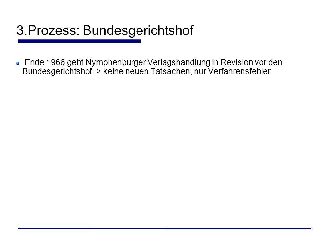 Ende 1966 geht Nymphenburger Verlagshandlung in Revision vor den Bundesgerichtshof -> keine neuen Tatsachen, nur Verfahrensfehler