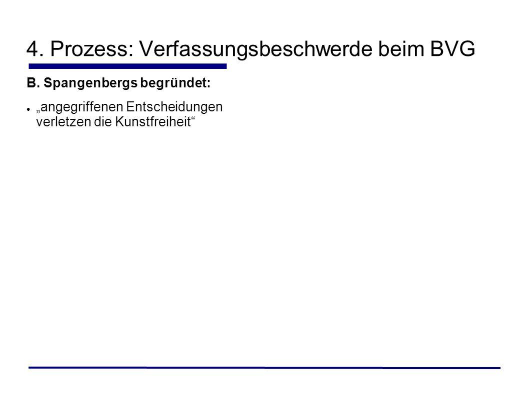B. Spangenbergs begründet: angegriffenen Entscheidungen verletzen die Kunstfreiheit