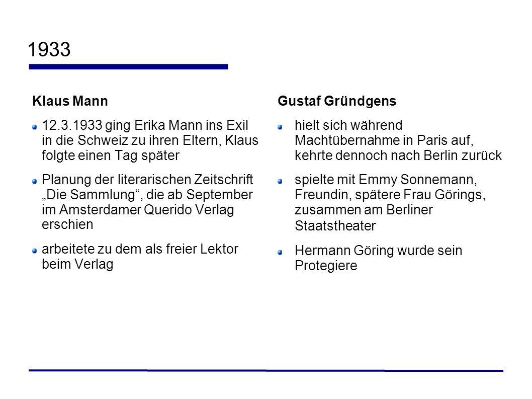 1933 Klaus Mann 12.3.1933 ging Erika Mann ins Exil in die Schweiz zu ihren Eltern, Klaus folgte einen Tag später Planung der literarischen Zeitschrift