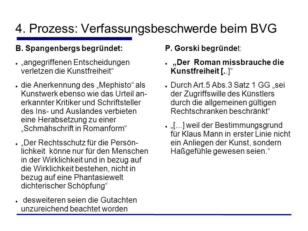 4. Prozess: Verfassungsbeschwerde beim BVG B. Spangenbergs begründet: angegriffenen Entscheidungen verletzen die Kunstfreiheit die Anerkennung des Mep