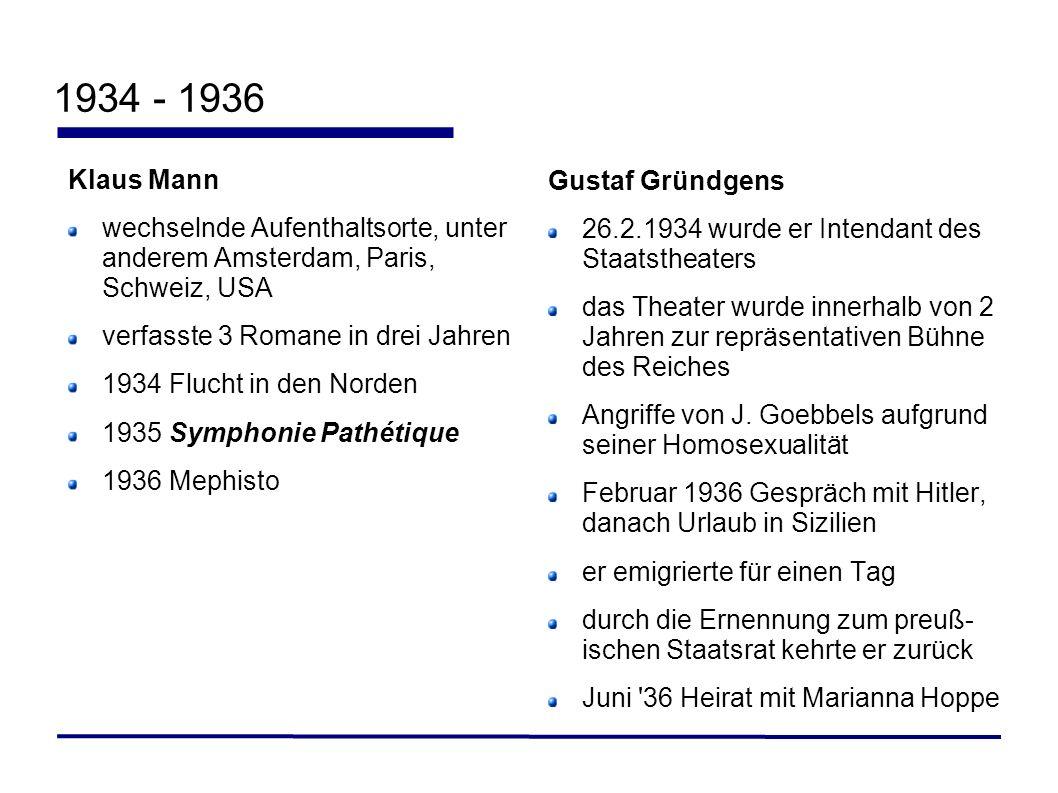 1934 - 1936 Klaus Mann wechselnde Aufenthaltsorte, unter anderem Amsterdam, Paris, Schweiz, USA verfasste 3 Romane in drei Jahren 1934 Flucht in den N