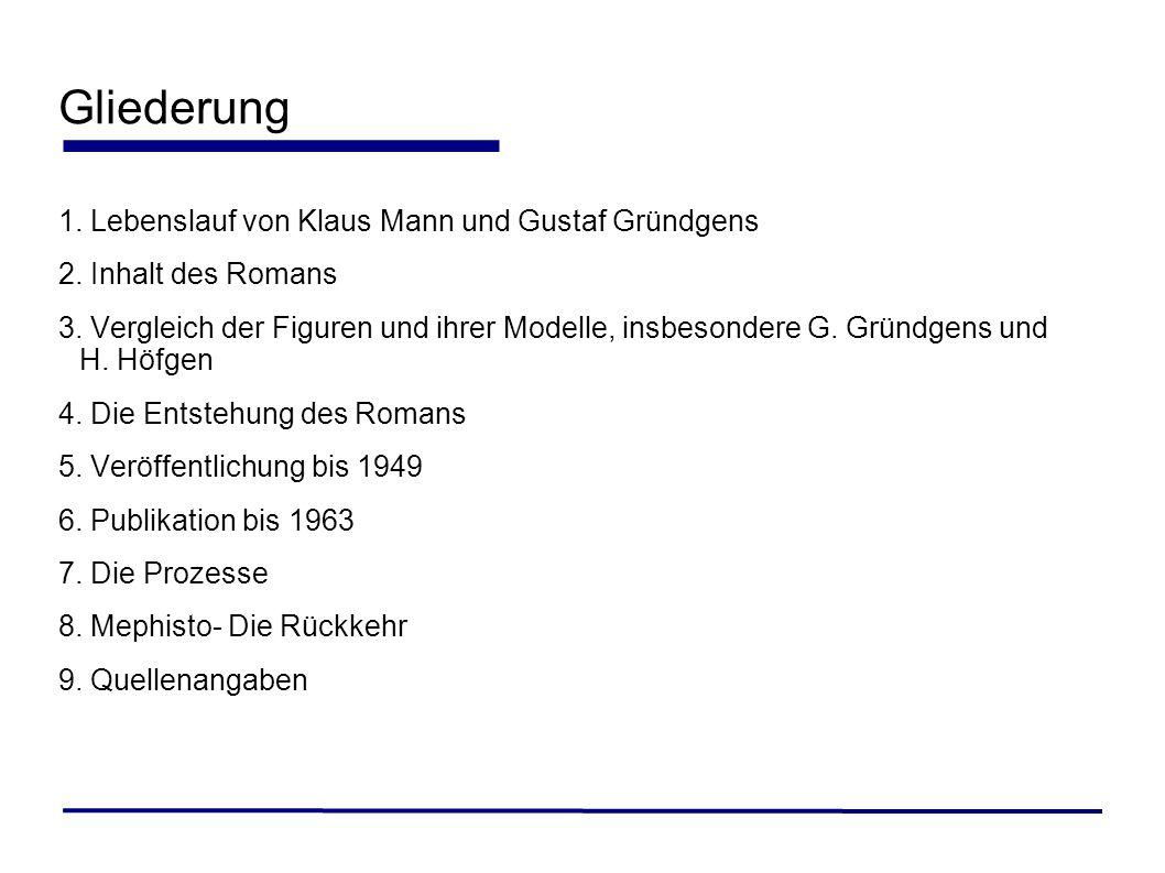 Gliederung 1. Lebenslauf von Klaus Mann und Gustaf Gründgens 2. Inhalt des Romans 3. Vergleich der Figuren und ihrer Modelle, insbesondere G. Gründgen