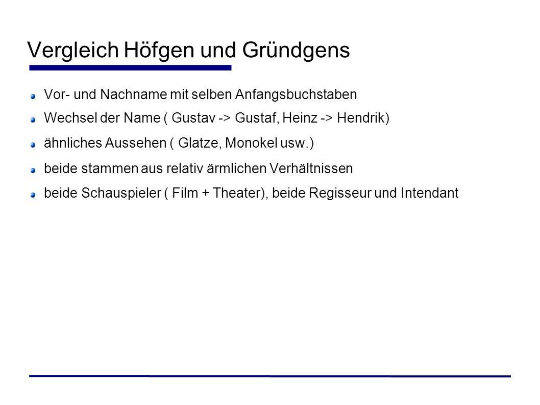 Vergleich Höfgen und Gründgens Vor- und Nachname mit selben Anfangsbuchstaben Wechsel der Name ( Gustav -> Gustaf, Heinz -> Hendrik) ähnliches Aussehe
