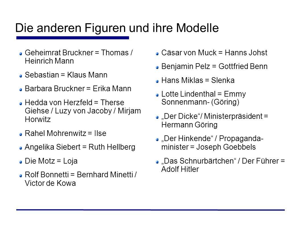 Die anderen Figuren und ihre Modelle Geheimrat Bruckner = Thomas / Heinrich Mann Sebastian = Klaus Mann Barbara Bruckner = Erika Mann Hedda von Herzfe