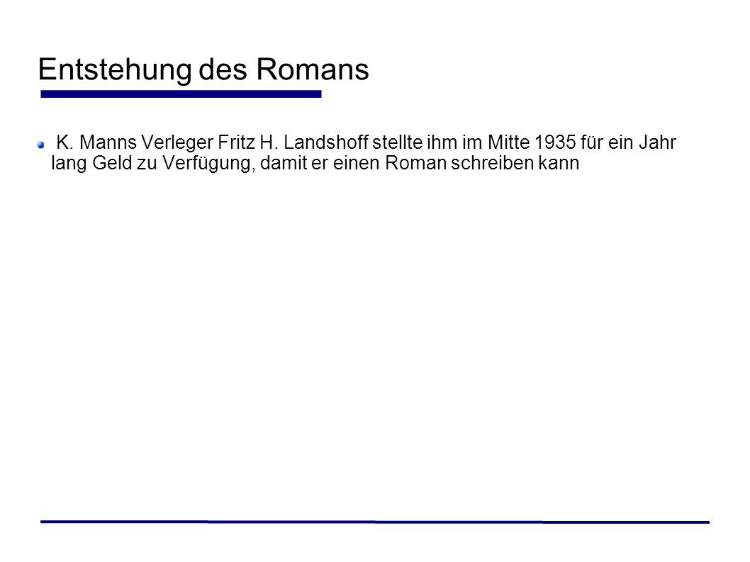 K. Manns Verleger Fritz H. Landshoff stellte ihm im Mitte 1935 für ein Jahr lang Geld zu Verfügung, damit er einen Roman schreiben kann