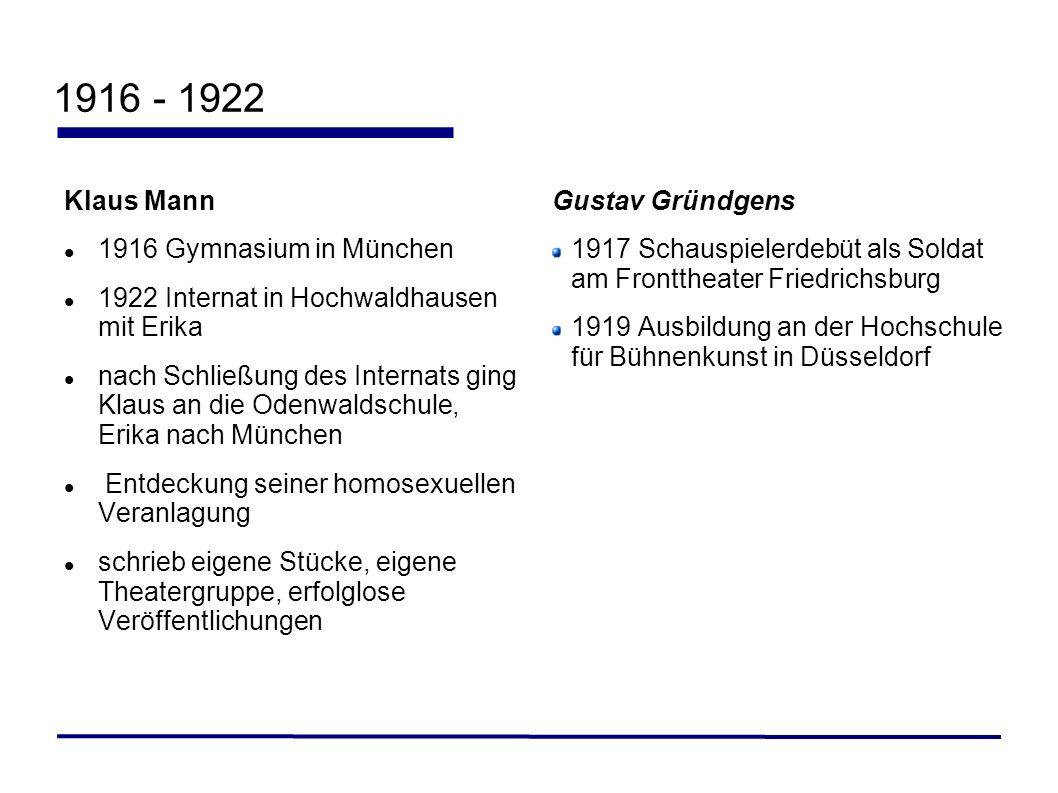 1916 - 1922 Klaus Mann 1916 Gymnasium in München 1922 Internat in Hochwaldhausen mit Erika nach Schließung des Internats ging Klaus an die Odenwaldsch