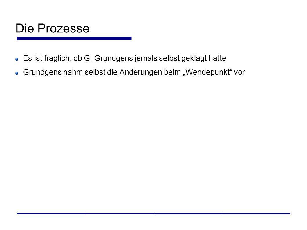 Die Prozesse Es ist fraglich, ob G. Gründgens jemals selbst geklagt hätte Gründgens nahm selbst die Änderungen beim Wendepunkt vor