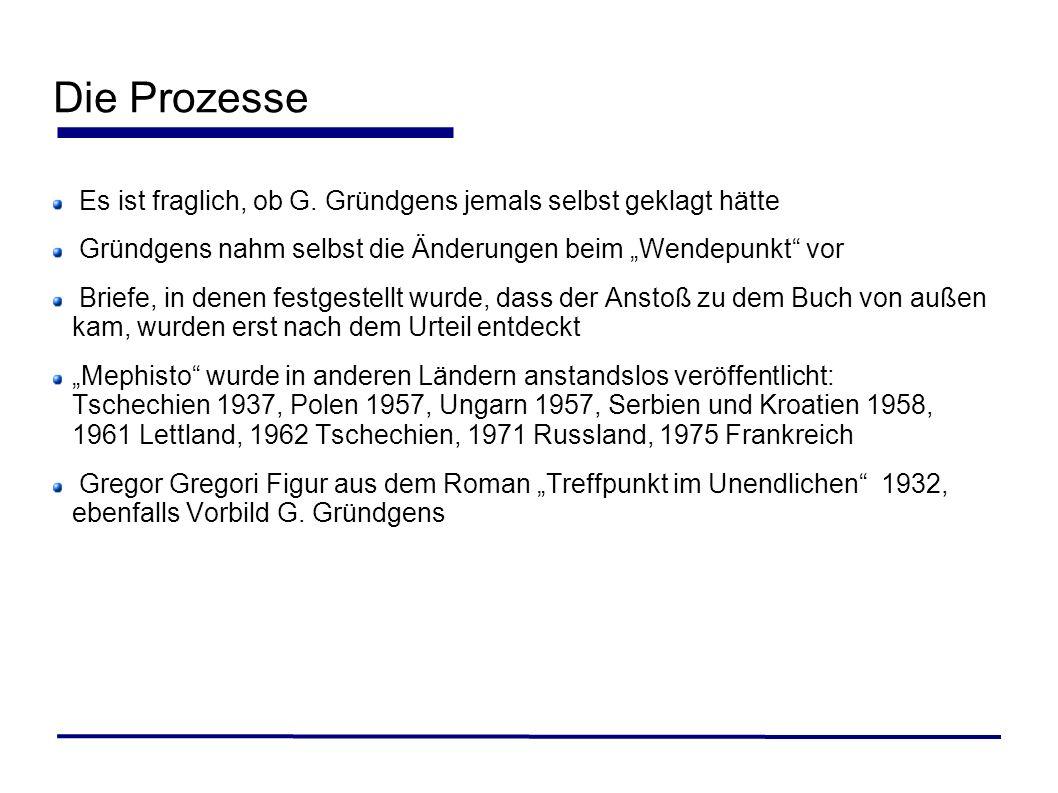 Die Prozesse Es ist fraglich, ob G. Gründgens jemals selbst geklagt hätte Gründgens nahm selbst die Änderungen beim Wendepunkt vor Briefe, in denen fe