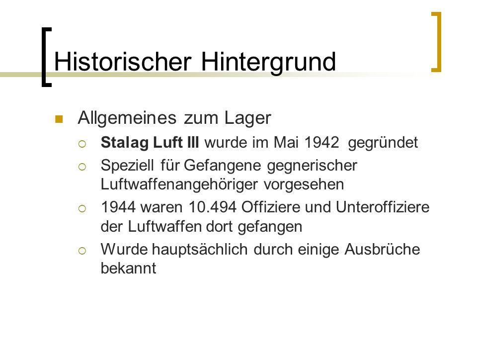 Historischer Hintergrund Allgemeines zum Lager Stalag Luft III wurde im Mai 1942 gegründet Speziell für Gefangene gegnerischer Luftwaffenangehöriger v