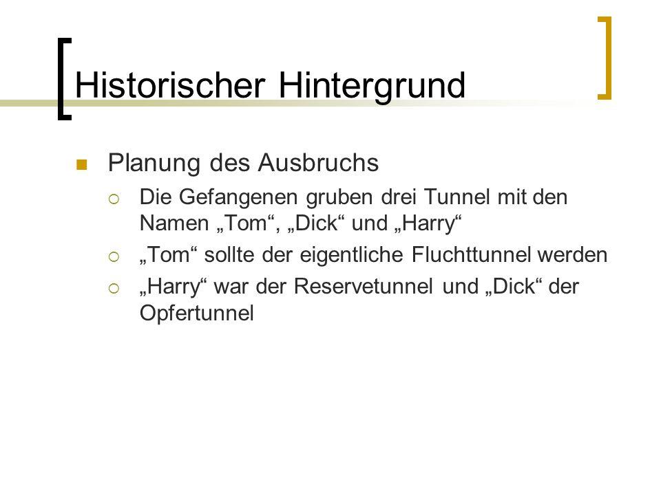 Historischer Hintergrund Planung des Ausbruchs Die Gefangenen gruben drei Tunnel mit den Namen Tom, Dick und Harry Tom sollte der eigentliche Fluchttu