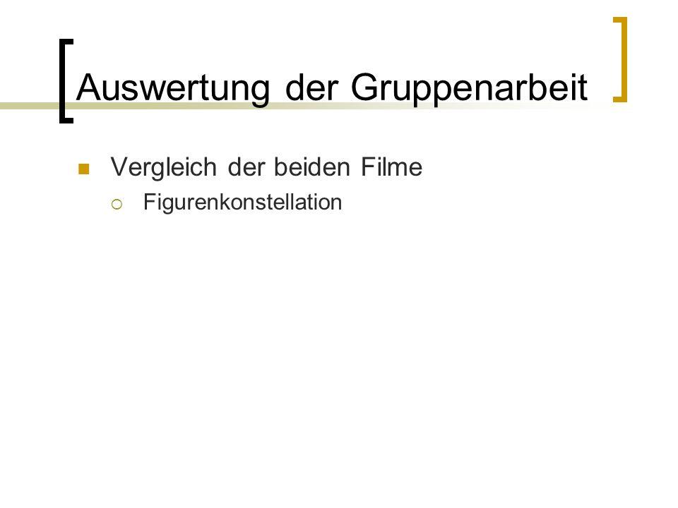Auswertung der Gruppenarbeit Vergleich der beiden Filme Figurenkonstellation