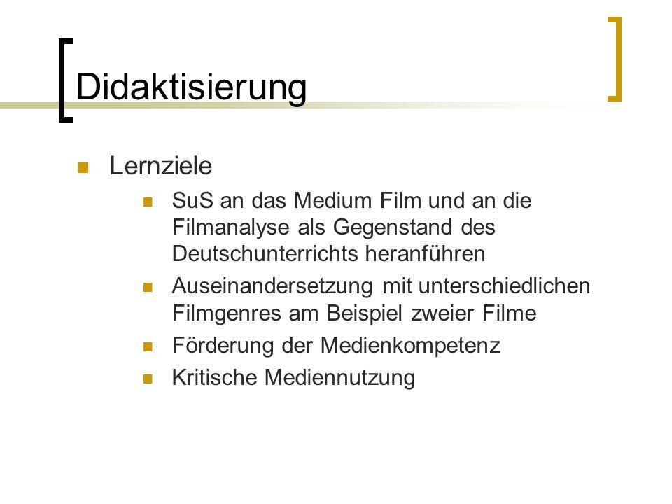 Didaktisierung Lernziele SuS an das Medium Film und an die Filmanalyse als Gegenstand des Deutschunterrichts heranführen Auseinandersetzung mit unters
