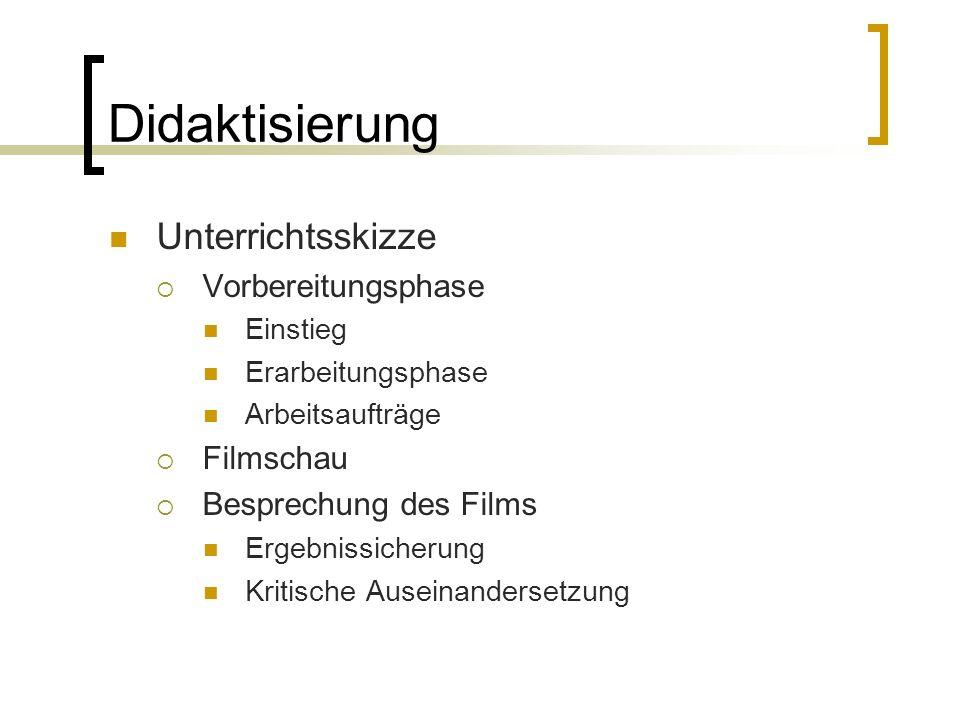 Didaktisierung Unterrichtsskizze Vorbereitungsphase Einstieg Erarbeitungsphase Arbeitsaufträge Filmschau Besprechung des Films Ergebnissicherung Kriti
