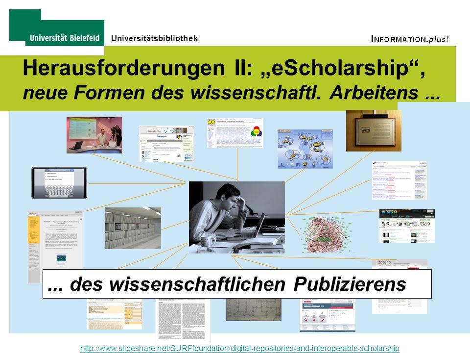 Universitätsbibliothek Herausforderungen II: eScholarship, neue Formen des wissenschaftl. Arbeitens... http://www.slideshare.net/SURFfoundation/digita