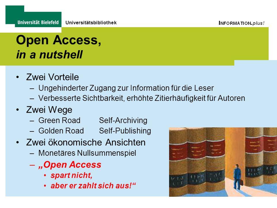Universitätsbibliothek Open Access, in a nutshell Zwei Vorteile –Ungehinderter Zugang zur Information für die Leser –Verbesserte Sichtbarkeit, erhöhte