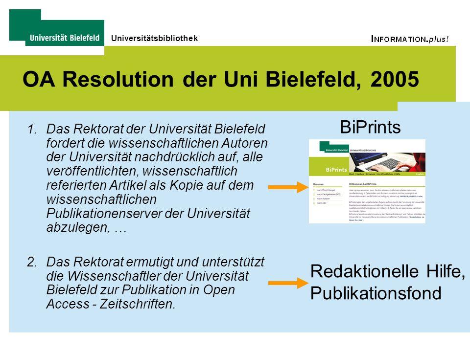 Universitätsbibliothek OA Resolution der Uni Bielefeld, 2005 1.Das Rektorat der Universität Bielefeld fordert die wissenschaftlichen Autoren der Unive