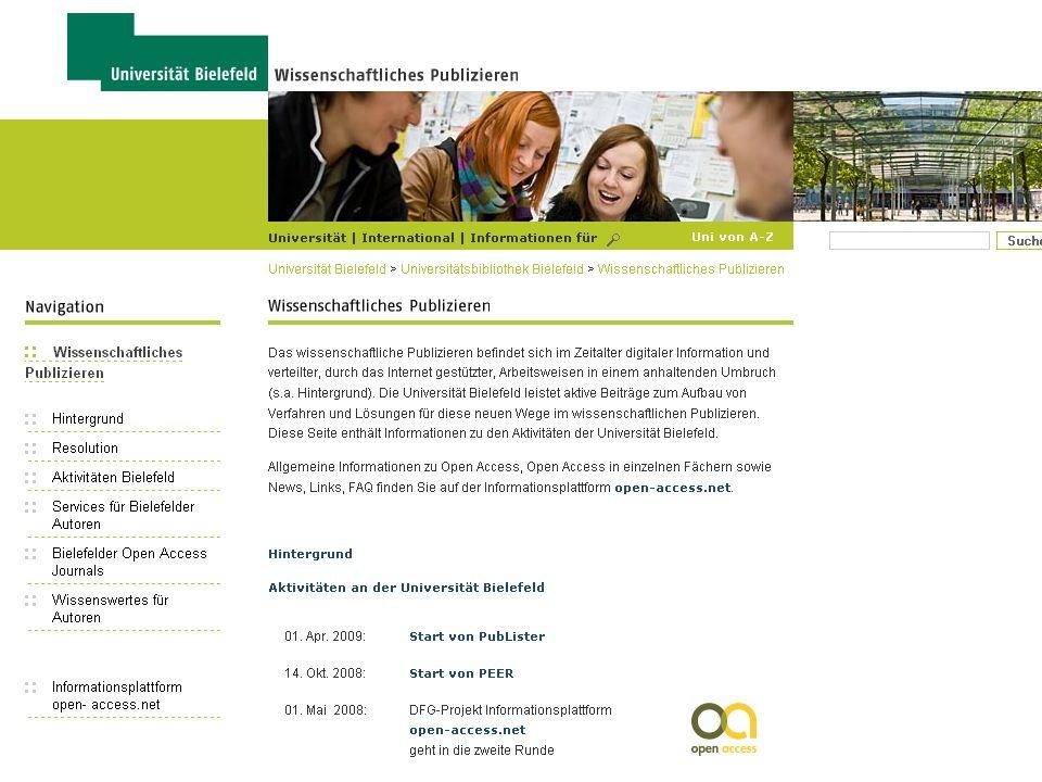 Universitätsbibliothek WP-Webseiten der Universität