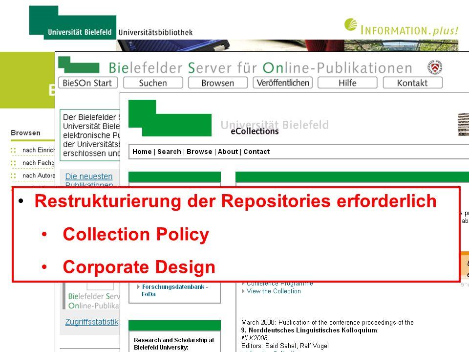 Universitätsbibliothek Bielefelder Repositorien Qualitätsgeprüfte wissenschaftliche Publikationen –Zweitveröffentlichungen –Volltexte plus bibliograph