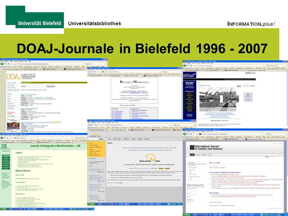 Universitätsbibliothek DOAJ-Journale in Bielefeld 1996 - 2007