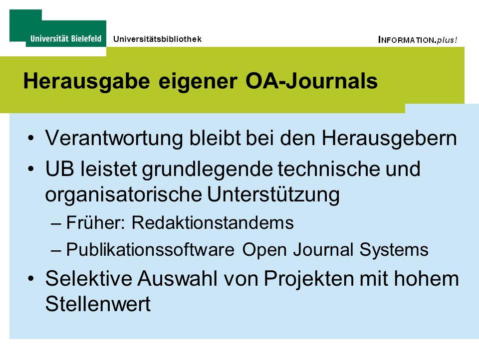 Universitätsbibliothek Herausgabe eigener OA-Journals Verantwortung bleibt bei den Herausgebern UB leistet grundlegende technische und organisatorisch